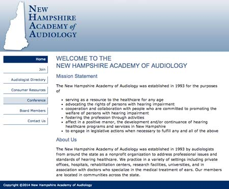 Web design sample: New Hampshire Academy of Audiology