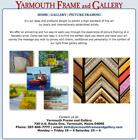 Web design sample: Yarmouth Frame and Gallery